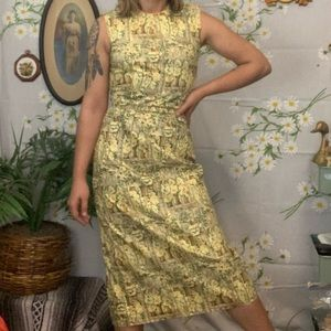 Vintage 1950s yellow floral bodycon midi dress